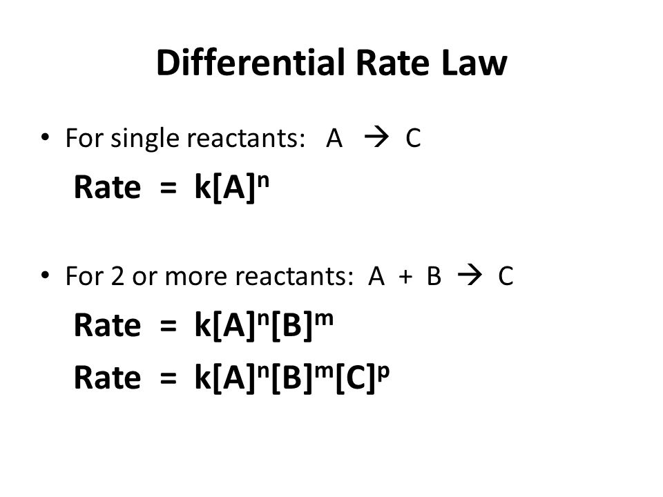 Differential Rate Law Rate = k[A]n Rate = k[A]n[B]m